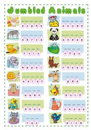English Worksheets: JUMBLED ANIMALS