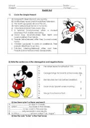 English worksheet: Simple Present,  affirmative, negative and interrogative forms