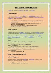English Worksheets: The function of phrases