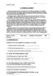 English Worksheets: A climbing accident reading comprehension