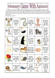 English Worksheet: Memory Game With Animals