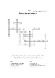 English Worksheet: emigration vocabulary