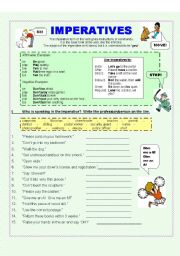 English Worksheet: Look!  Listen!  Learn!  Imperatives (2 pages)