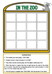 English Worksheet: IN THE ZOO - BOARD GAME (PART 2)
