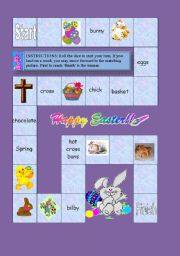 English Worksheet: Easter Fun/ Vocab Board Game