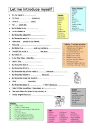 English Worksheet: Let me introduce myself - Getting to know you - Speaking prompts with vocabulary bank