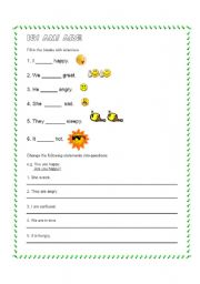 English worksheet: Is/am/are