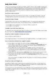 English Worksheets: Body Mass Index