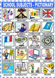 English Worksheet: SCHOOL SUBJECTS - PICTIONARY