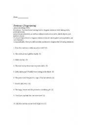 English Worksheet: Action and Linking Verbs Diagraming
