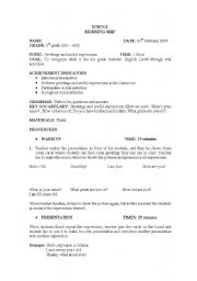 English Worksheets: Greetings and useful expressions