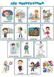 English worksheet: ABC OCCUPATIONS- A IS FOR ASTRONAUT, B FOR BAKER ETC...