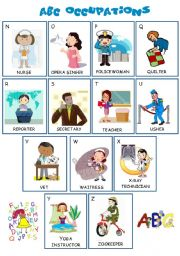 English Worksheets: ABC Occupations - N to Z