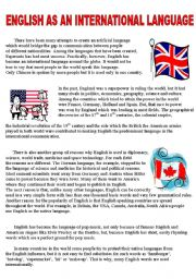 English Worksheet: English as an international language - reading