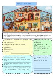 English Worksheet: Home - My house - there is, there are, some/any -