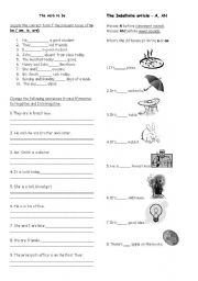 English Worksheet: The verb to be, the Indefinite articles A, AN