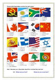 English Worksheet: flags