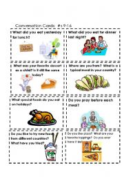 English Worksheet: Conversation Cards  Food  #s 9-16