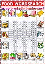English Worksheet: FOOD WORDSEARCH