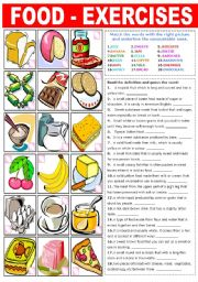English Worksheet: FOOD EXERCISES