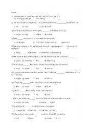 English worksheet: word exam