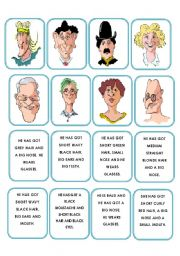 English Worksheets: Memory game faces description