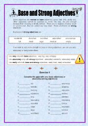 English Worksheet: Base and Strong adjectives - 2 pages + key