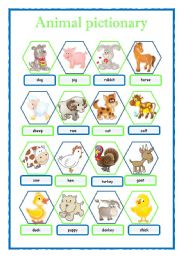 English Worksheet: ANIMAL PICTIONARY