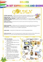 COLORS IN SET EXPRESSIONS AND IN IDIOMS! (PART 12) GOLDEN