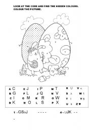 English Worksheet: EASTER BUNNY - HIDDEN COLOURS