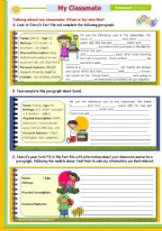 English Worksheet: Writing Series (4)  -  2nd 45-minute-class: