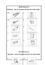 English Worksheets: WORDS PRATICE 2