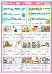 English Worksheet: A / AN  & SOME / ANY