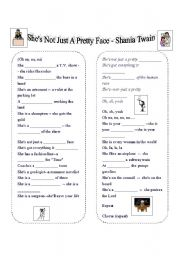 English Worksheets: She�s Not just a pretty face - Shania Twain
