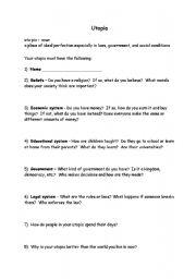 Building a Utopia worksheet - ESL worksheet by flamekat