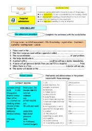 English Worksheet: Hospital admissions