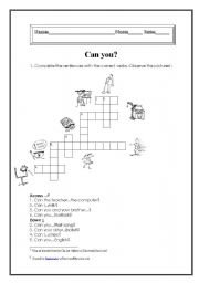 English worksheet: Can you?
