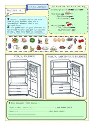 English Worksheet: Food in the fridge - Pair-work - is there + some/any