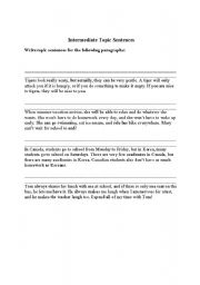 English Worksheets: Writing Topic Sentences