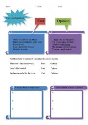 English Worksheets: facts and opinions.