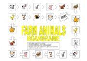 English Worksheets: Farm animals boardgame