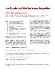 English worksheet: TUTORIAL: how to read a text and answer the questions