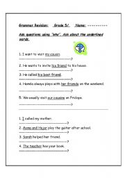 English Worksheets: ask with who