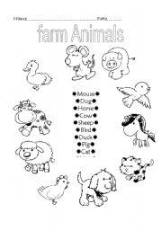 Farm animals - ESL worksheet by ruthcaher