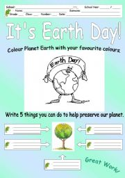 English Worksheet: It�s Earth Day!