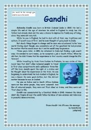 Gandhi Reading Comprehension (4 pages)