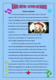 English Worksheets: READING + WRITING + LISTENING with Madonna (1/2)