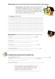 English worksheet: rules at home