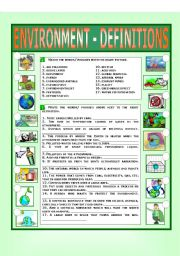 English Worksheet: Environment - Definitions