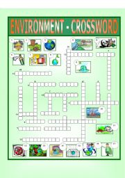 English Worksheet: Environment - Crossword